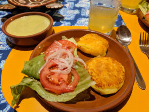 Avocado soup, plantain cakes, garden salad.